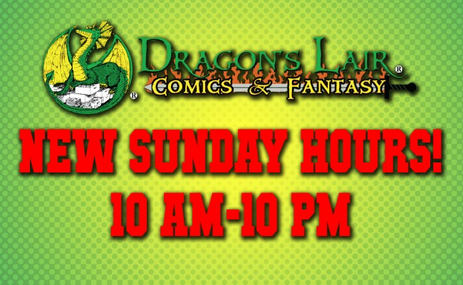 New Sunday Hours! 10 AM to 10 PM!